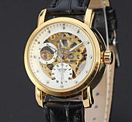 Fashion Female Leather Elegant Business Skeleton Mechanical Self Wind  Wrist Watch Cool Watches Unique Watches