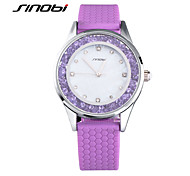SINOBI® Women Quartz Watch Purple Silicone Ladies Wrist Watches Fashion Girls Party Diamond Watch Female Wristwatches Cool Watches Unique Watches
