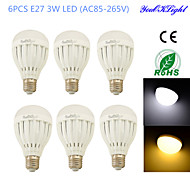 YouOKLight® 6PCS E27 3W 6*SMD5730 260LM White/ Warm White Light LED  Globe Bulbs (AC85-265V/110-120V/220-240V)