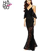 Haoduoyi Women's Deep V Short Sleeve Maxi Dress - 15151F273