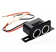Dual 2-Way Socket Car Splitter Cigarette Lighter Power Adapter