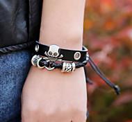 Vintage Style Beaded Skull Men'S Leather Bracelet Christmas Gifts