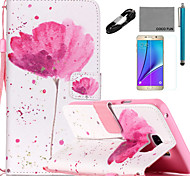 COCO FUN® A little Flower Pattern PU Leather Case with V8 USB Cable, Flim and Stylus for Samsung Galaxy Note 5