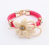 Europe Elegant Flower Alloy / Leather / Rhinestone Bracelet Leather Bracelets
