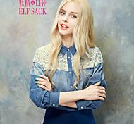 ELFSACK Women's Shirt Collar Long Sleeve Shirt & Blouse Blue - 1424294