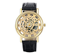 SOXY® Fashion Watches Black Belt Gold & White Surface Faux Leather Quartz Watch for Men Women Cool Watch Unique Watch