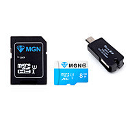Original MGN 8GB  Class 10 MicroSDHC TF Flash Memory Card with SD SDHC Adapter and USB & OTG  Two in One Card Reader