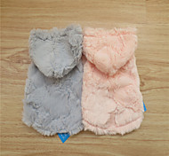 Dog Hoodie Pink / Gray Winter Solid Fashion