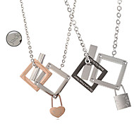 Valentine's Day Personalized Gift Jewelry Lovers' Titanium Steel Gold/Silver Necklaces(One Pair)
