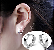 S925 Fine Silver AAA Zircon Hoop Stud Earrings,Unisex
