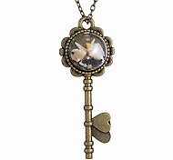 The New Retro Time Key DIY Conch Bronze Glass Necklace