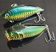"""2 pçs Iscas Popper de Pesca Vibração Verde Escuro g/Onça,70mm mm/2-3/4"""" polegada,Plástico Duro Pesca de Isco"""