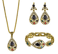 Colorful Rhinestone Necklace Bracelet Earrings Fashion Jewelry Set