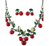 Red Enamel Cherry Shape Fashion Jewelry Set