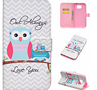 Mother and baby owls Pattern PU Leather Case with Card Slot and Stand for Samsung Galaxy S7