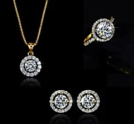 Jewelry Set Crystal Pendant Necklace Earring Ring Gift for Bride