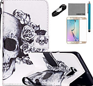 COCO FUN® Flower skeleton Pattern PU Leather Case Cable Film and Stylus for Samsung Galaxy S6/S6 Edge/S6 Edge Plus