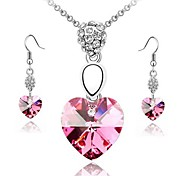 Whole Sale Crystal Jewelry Set Elegant Unique Crystal Design Heart Pendant Necklace Earrings Ring Girlfriend Gift