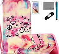 coco Fun® Rautenmuster PU-Lederetui mit v8 USB-Kabel Film und Stylus für Samsung Galaxy S6 / S6 Rand / s6 Rand Plus