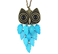 Vintage Style Resin Long Owl Pendant Necklace for Women