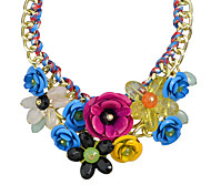 Colorful Resin Rhinestone Statement Flower Necklace