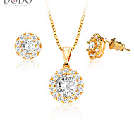 Luxury zircon Crystal Necklace Earrings Jewelry Sets 18K Gold Plated fashion Jewelry Set Women Party Gift S20059