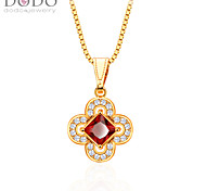 Flower Shaped Simulated Diamond Pendant Red Ruby Pendant New 18K Gold Plated AAA Cubic Zirconia Pendant P30126