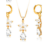 New Luxury Zircon Crystal Necklace Earrings Jewelry Sets 18K Gold Plated Fashion Women Party Gift S20060