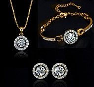 Jewelry Set Crystal Pendant Necklace Earring Bracelet Gift for Bride