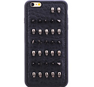 Rivet Leather Series Black Skullheads TPU Soft Back Cover for iPhone 6S Plus/6 Plus