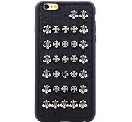 Rivet Leather Series Black Holy Cross TPU Soft Back Cover for iPhone 6/6S
