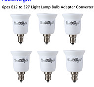 YouOKLight® 6PCS E12 to E27 Light Lamp Bulb Adapter Converter - Silver + White