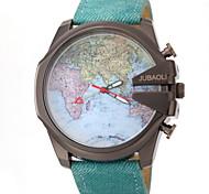 JUBAOLI Masculino Relógio de Pulso Quartzo Couro Banda Padrão Mapa do Mundo Preta Azul Preto Azul Claro