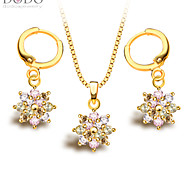 Colorful Crystal Necklace Earrings Jewelry Sets Trendy 18K Gold Plated fashion zircon Jewelry Set Women Party S20067