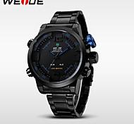 multi-função de marca de luxo weide® LED duplo fuso horário relógio moda esportiva relógio de pulso militares