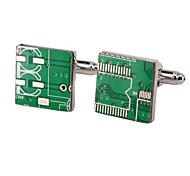 Jewelry Brass Material, Circuit Board Shape Cufflinks