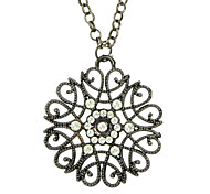 Alloy and Rhinestone Flower Long Pendant Necklace