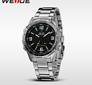 WEIDE® Men's Casual Watch Brand Stainless Steel Band LED Double Time Quartz Wristwatch