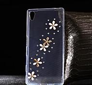 Para Funda Sony / Xperia Z5 / Xperia Z3 Diamantes Sintéticos / Transparente Funda Cubierta Trasera Funda Flor Suave TPU SonySony Xperia