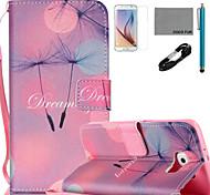 coco Fun® Löwenzahn Muster PU Ledertasche mit v8 USB-Kabel Film und Stylus für Samsung Galaxy S6 / S6 Rand / s6 Rand Plus