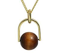 Fashionable Wood Imitation Pearl Long Ball Pendant Necklace