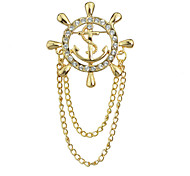 Gold Silver Plated Long Chain Rhinestone Brooch