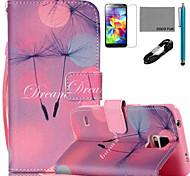 Coco patrón de diente de león Fun® cuero de la PU de cable caso lápiz flim y soporte para Samsung Galaxy S4 / S4 Mini / S5 / s5 i9600