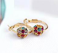 Full Crystal Zircon Earrings Hoop Earrings for Women Beads Earrings Fashion Jewelry Accessories