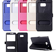 View Window PU Leather Flip Cover Case With Stand for Samsung S7/S7 Edge(Assorted Colors)