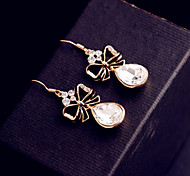 Ribbon bow crystal earring alloy earrings Ms