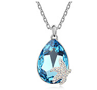 Austria Crystal Seafish Drop Pendant Necklace,Fine Jewelry