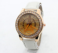 Women's  Fashion  Simplicity  Rhinestone Scriptures Quartz  Leather Lady Watch