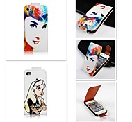 The Beautiful Girl Patten Up-down Turn Over PU Leather Full Body Case for iPhone 4/4S