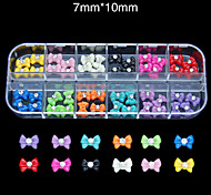 60pcs/set Mix-color 3D Bow Tie Beauty Style Diamond Nail Tips Party Make Up and Accessories Nail Jewelry Fashion
